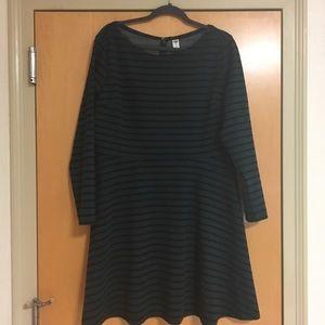 OLD NAVY green and black stripe skater dress